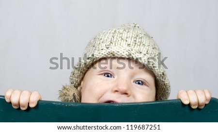 Baby boy with winter hat