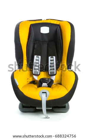 baby car seat, yellow color, isolated on white