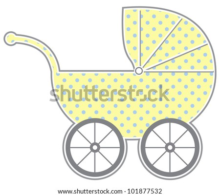 Baby Carriage - Isolated baby carriage silhouette with cute pattern