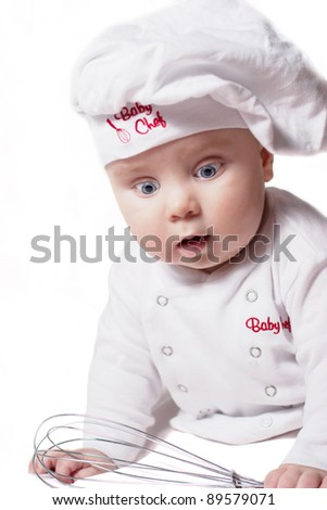 Stock Photo Baby chef on a white background