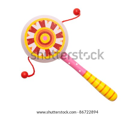 Baby Children's colorful wooden rattle - stock photo