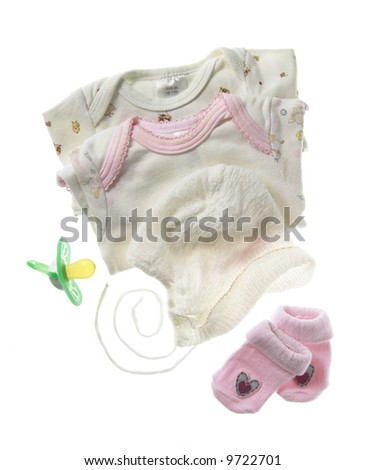 Baby clothes and other baby things.