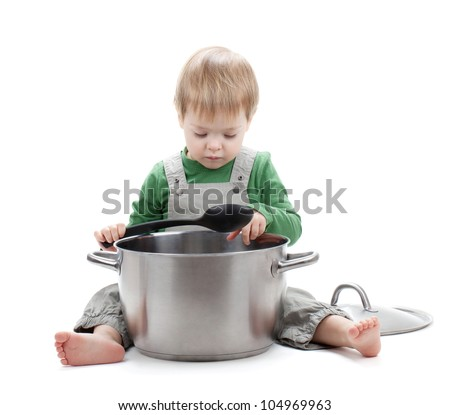 Baby cooking. Isolated on white background - stock photo