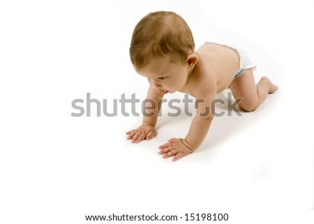 Baby crawling, isolated on white - stock photo