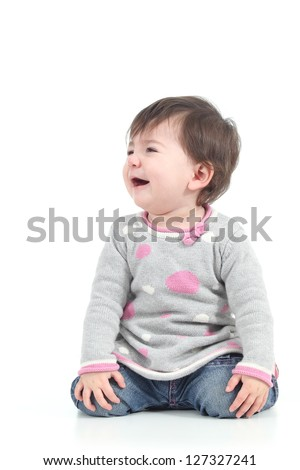 Baby crying in tears on a white isolated background - stock photo