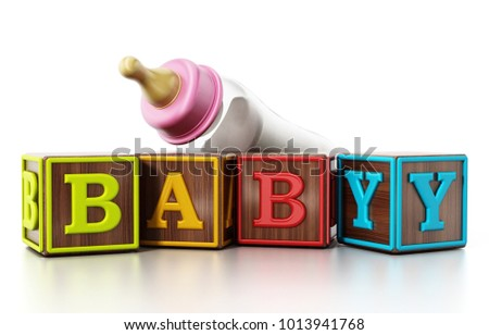 Baby cubes and feeding bottle isolated on white background. 3D illustration.