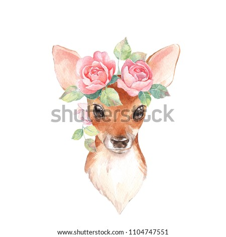 Baby Deer and roses. Hand drawn cute fawn. Watercolor illustration