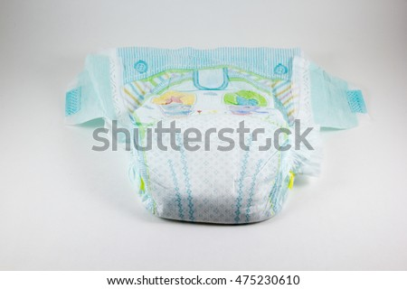 Baby diaper on a white background #475230610