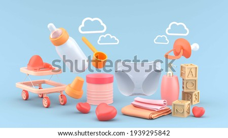 Baby diapers are surrounded by baby milk cans, shampoo bottles, wooden toys, baby bottles, strollers and clouds on a blue background.-3d rendering.