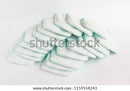 Baby diapers on a white background, diapers for babies #1159558243
