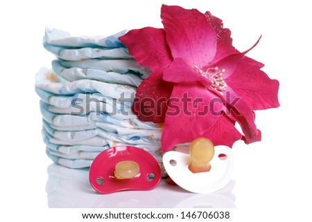 Baby diapers with sucker and flower / baby stuff