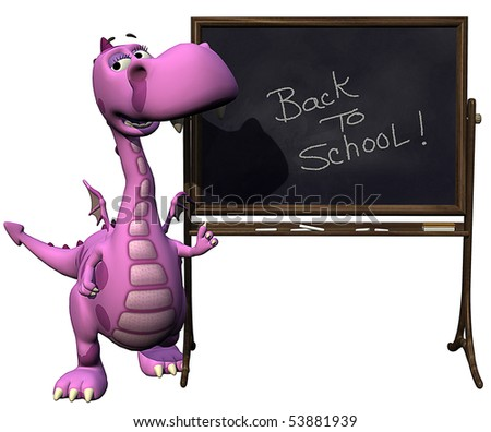 baby dragon pink back to school blank - stock photo