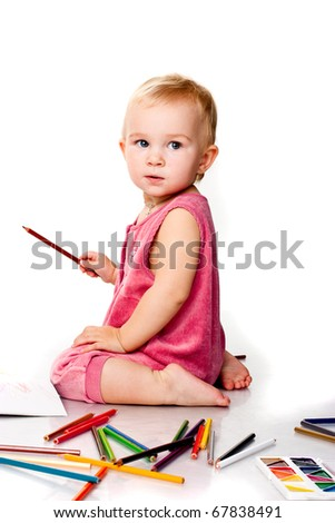 Baby drawing isolated on white