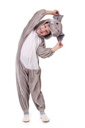Baby dressed in a elephant costume on white background