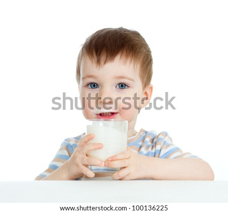 baby drinking yogurt or kefir over white