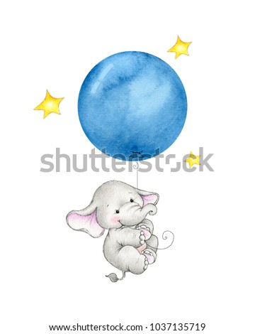 Baby elephant hanging on blue balloon
