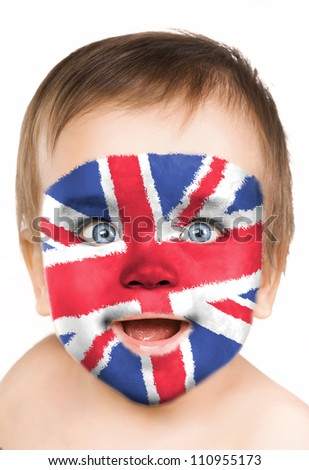 Baby face close-up, painted in the style of an English flag.