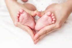 Baby feet in mother hands
