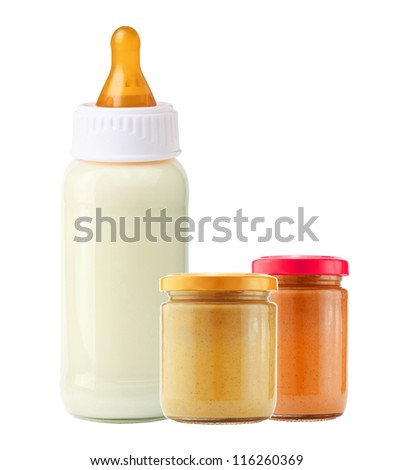 baby food and and milk bottle isolated on white background