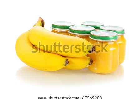 Baby food, banana mashed potatoes and bananas on a white background it is isolated.