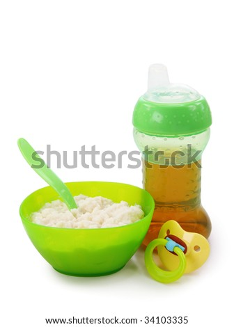 Baby food isolated on white background