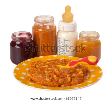 Baby food isolated on white background - stock photo