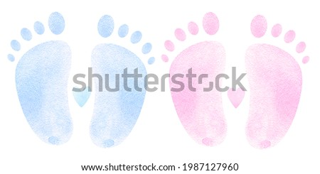 Baby footprints blue and pink watercolor . Welcome Baby Boy. Newborn, It's a boy, hello baby, little one, poster, nursery decor, congratulations card, invitation card, baby shower, birthday party.