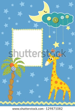 Baby frame or card. Raster version, vector file available in portfolio.
