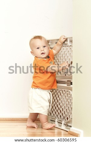 Baby Gate: childproofing and making home secure for your child - stock photo