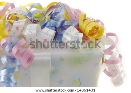 Baby gifted wrapped box against a white background.
