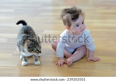 Baby (girl age 06 months)  sits with animal (domestic cat) at home. Concept photo animals and children.