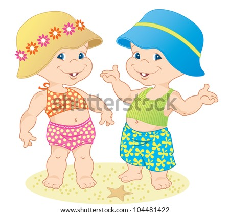 baby girl and boy wearing cute summer outfits on the beach