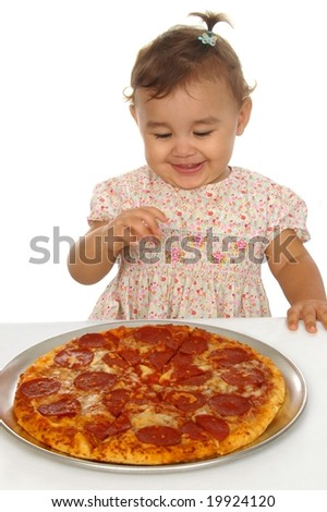 Baby girl and pizza