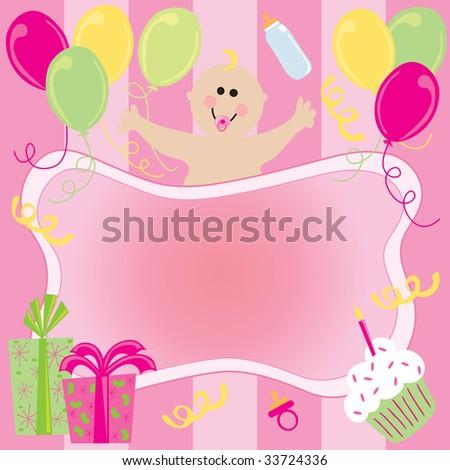 Baby Girl birthday Invitation