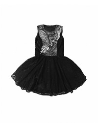 Baby-girl black dress with parrot embroidered with rhinestones on the chest. Cotton summer lace dress for infant girl, isolated on white background. Kids' girl patterned dress