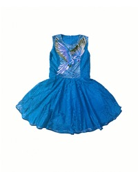 Baby-girl blue dress with parrot embroidered with rhinestones on the chest. Cotton summer lace dress for infant girl, isolated on white background. Kids' girl patterned dress