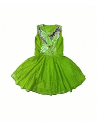 Baby-girl green dress with parrot embroidered with rhinestones on the chest. Cotton summer lace dress for infant girl, isolated on white background. Kids' girl patterned dress