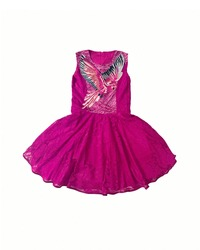 Baby-girl hot pink dress with parrot embroidered with rhinestones on the chest. Cotton summer lace dress for infant girl, isolated on white background. Kids' girl patterned dress