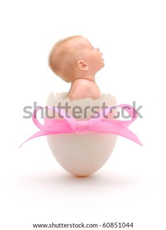 baby girl in egg on white background - stock photo
