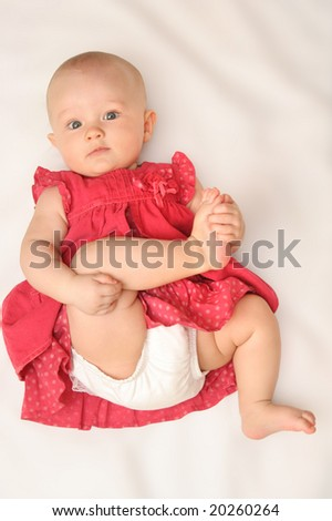 baby girl in red dress (6 month)
