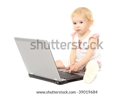 Baby girl  is thinking while working on her laptop. Shot in studio over white, then manually isolated.