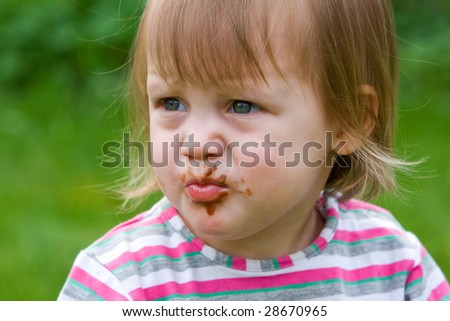 Baby-girl just finished her chocolate candy