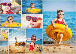 Baby girl on the beach, by the sea. collage. Selective focus.
