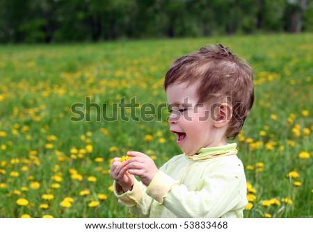 baby girl picking dandelion flowers on meadow
