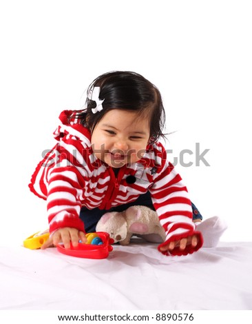 baby girl playing  and having fun