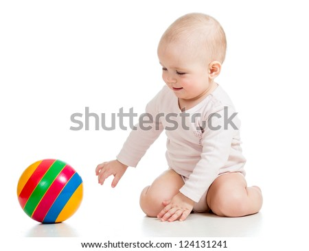 baby girl playing with ball