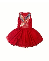 Baby-girl red dress with parrot embroidered with rhinestones on the chest. Cotton summer lace dress for infant girl, isolated on white background. Kids' girl patterned dress