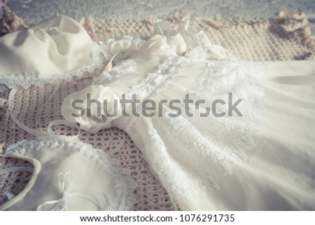 Baby girl's white lace fancy dress and accessories for Baptism christening