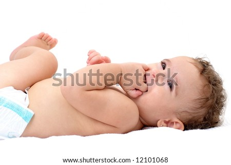 Baby Girl very happy on white background .