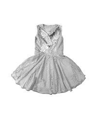 Baby-girl white dress with parrot embroidered with rhinestones on the chest. Cotton summer lace dress for infant girl, isolated on white background. Kids' girl patterned dress